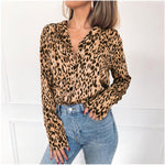 Fashion Women OL V Neck Leopard Shirt Elegant Long Sleeve Loose Dames Top Party Blouse Streetwear chemise femme Plus Size New