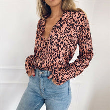 Charger l'image dans la galerie, Fashion Women OL V Neck Leopard Shirt Elegant Long Sleeve Loose Dames Top Party Blouse Streetwear chemise femme Plus Size New
