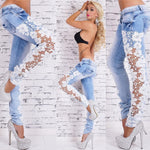 2019 New Sexy Lace Openwork Lace Jeans Female Hollow Out Patchwork women Lace Jeans Pencil Jeans Girl's 'Sexy breathable jeans