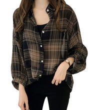 Charger l'image dans la galerie, Batwing Sleeve Chiffon Blouses Chic Plaid Shirts Women  Autumn Casual Chemise Femme Tops Tartan Blusas Mujer Plus Size