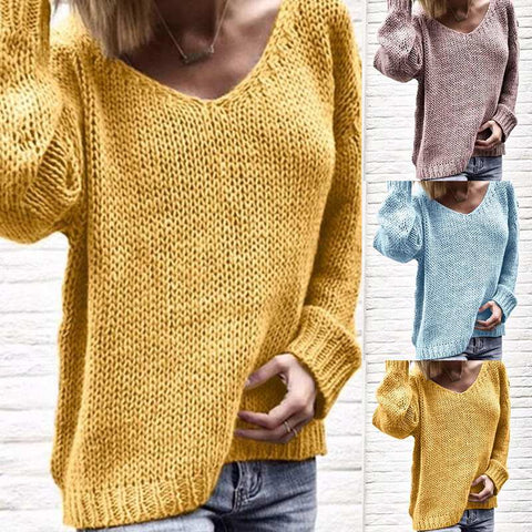 Knitwear Women's Sweaters Autumn 2019 Fashion Casual V Neck Tops Knitted Pullovers Female Solid Jumpers Oversized Pull Femme 3XL
