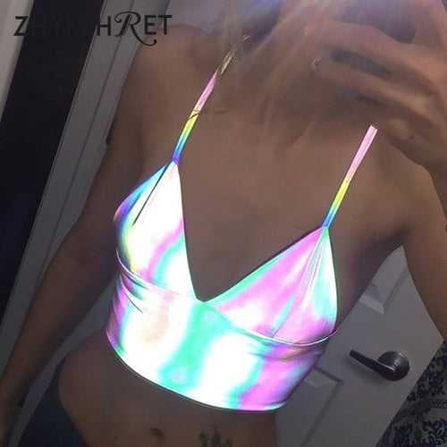 ZHYMIHRET 2019 Summer Colorful Reflective Holographic Crop Top Women Sexy V Neck Tank Tops Haut Femme Camiseta Tirantes Mujer