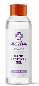 Activa Advanced Hand Sanitizer Gel | 65% Alcohol Base Infused with Lavender | Gentle, Safe and Moisturizing Formula | Pack of (12) x 4 Fl Oz / 118 mL