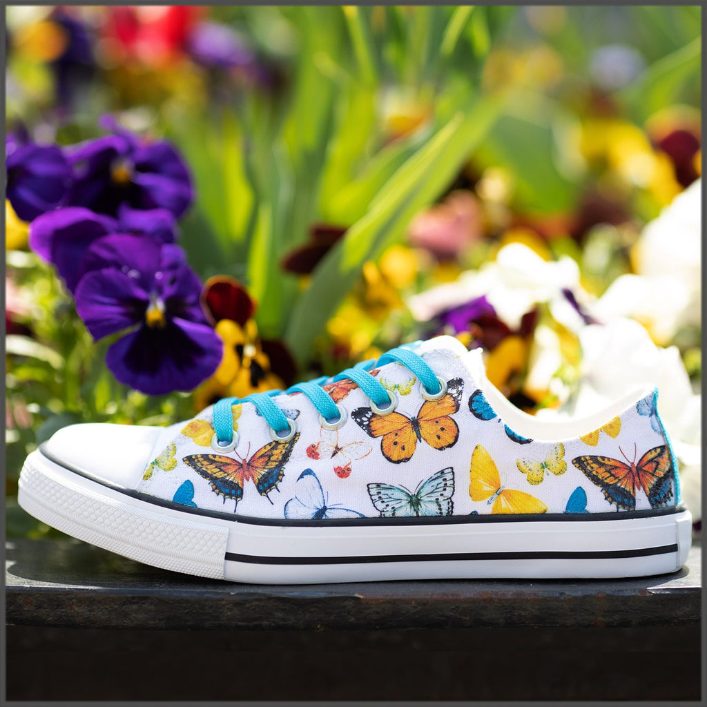 Tenisi Printati Low Top - Fluturi Multicolori