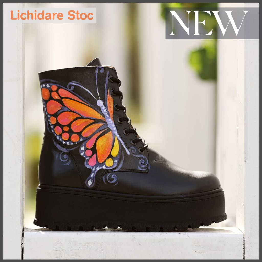 Ghete Din Piele Natural Pictate Manual Butterfly Effect Boots