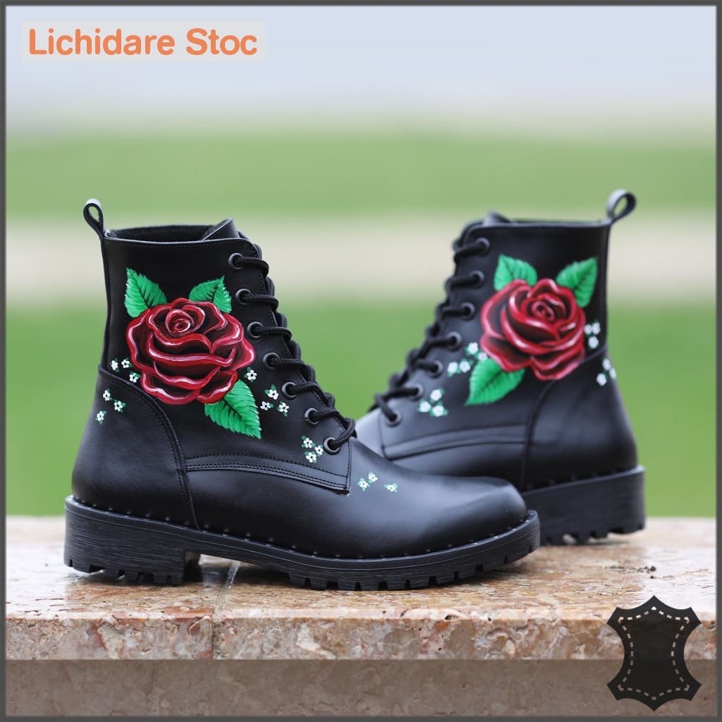 Ghete Din Piele Natural Pictate Red Rose 40 Boots