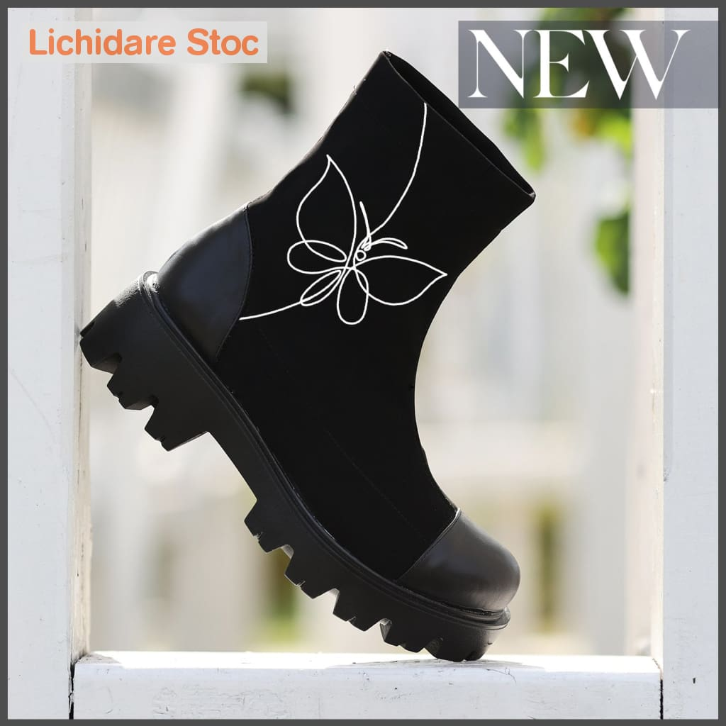 Ghete Stretch Elastice Pictate Manual Butterfly Boots