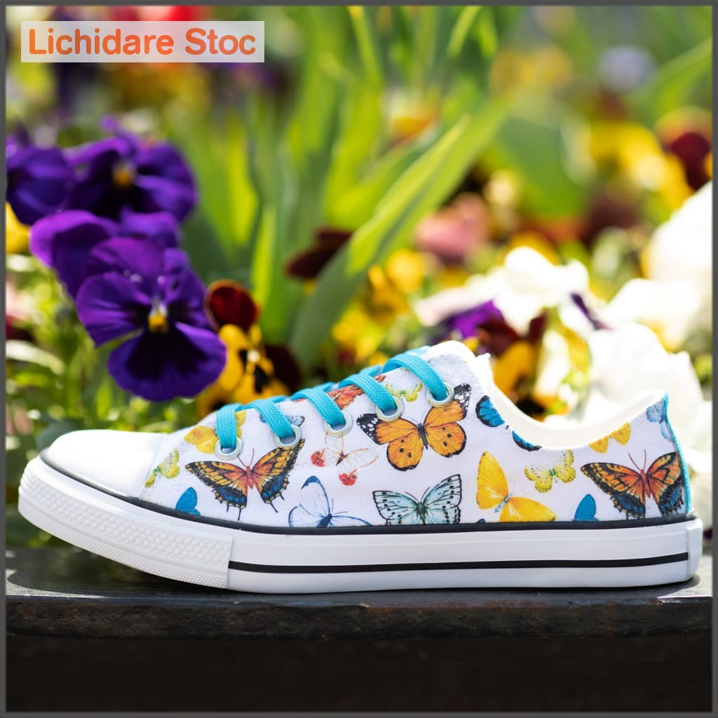 Tenisi Printati Low Top - Fluturi Multicolori 39 40