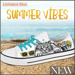 Tenisi Printati Low Top - Summer Cat