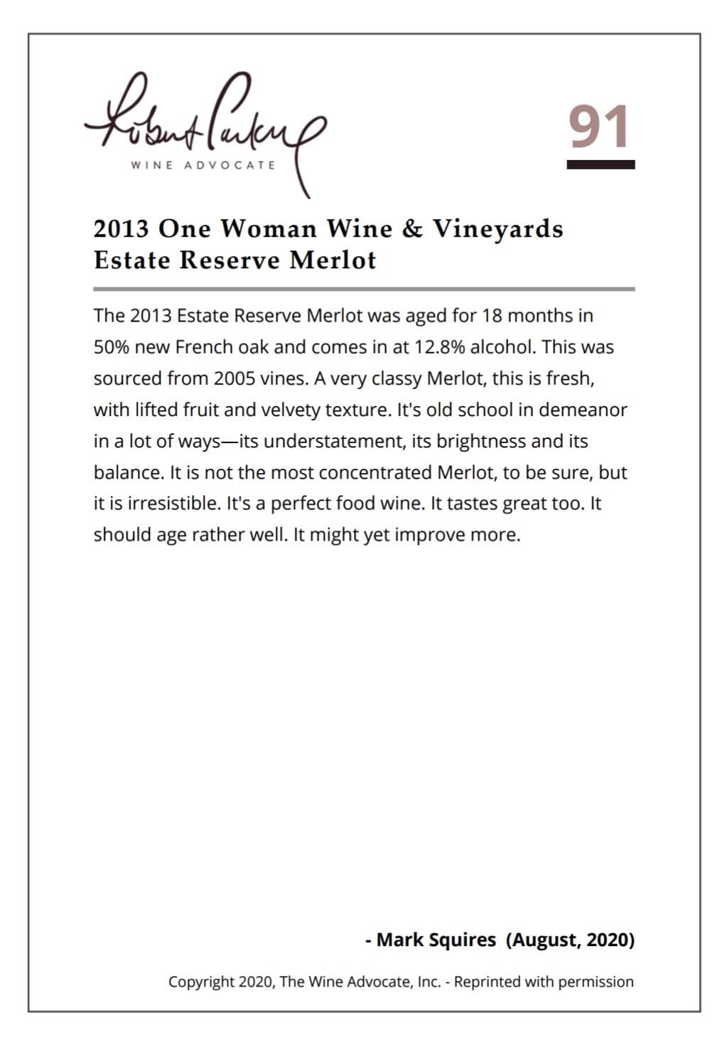 2013 One Woman Estate Reserve Merlot