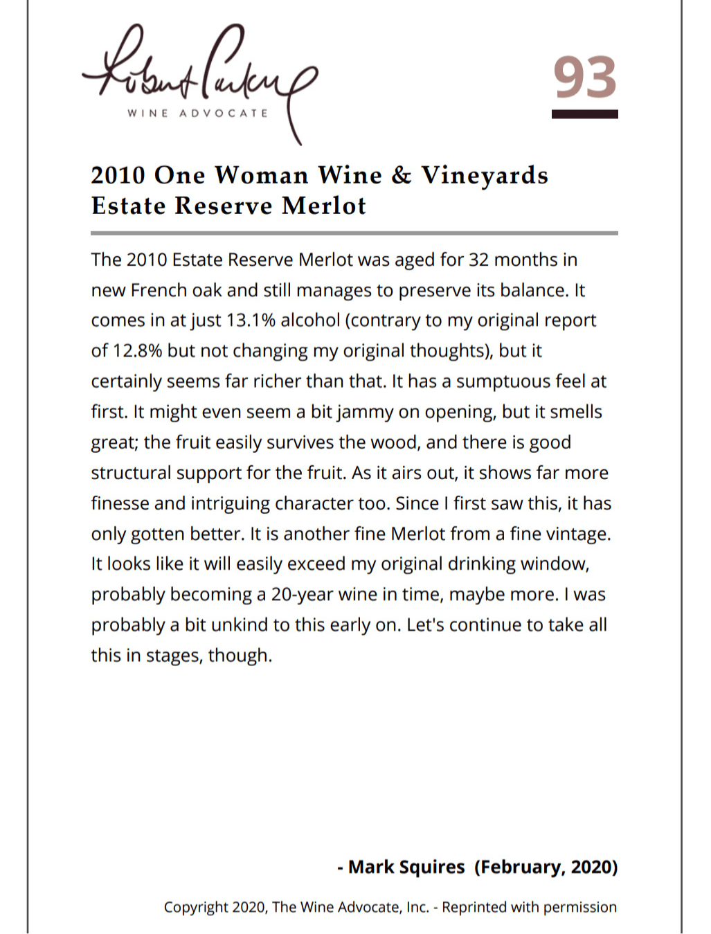 2010 One Woman Estate Reserve Merlot