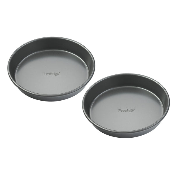 "Prestige Easy Release round cake tin with solid base. 8"" cake tin duo that doubles up as the perfect quiche tin. Non stick. Freezer friendly."