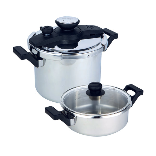Twist 'n' Lock stainless steel pressure cooker multi set from Prestige features interchangeable airtight twist n lock lid, glass lid, 3 litre small pressure cooker, & 6 litre large pressure cooker