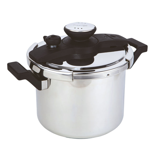 Twist 'n' Lock stainless steel pressure cooker from Prestige features airtight twist n lock lid. Cooks food up to 70% faster, saving time & energy bills