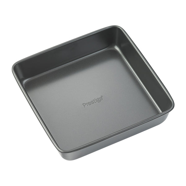 "Prestige Easy Release 8"" cake tin. This square cake tin features superior non stick & is freezer friendly too."