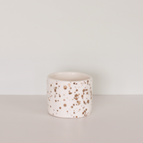 Gold and white splatter pot by JS Ceramics
