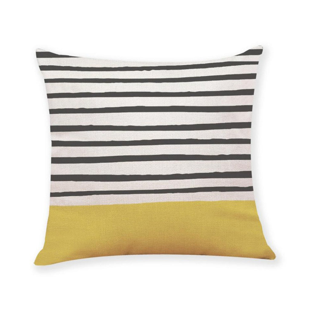 Cushion Yellow Black and White Striped