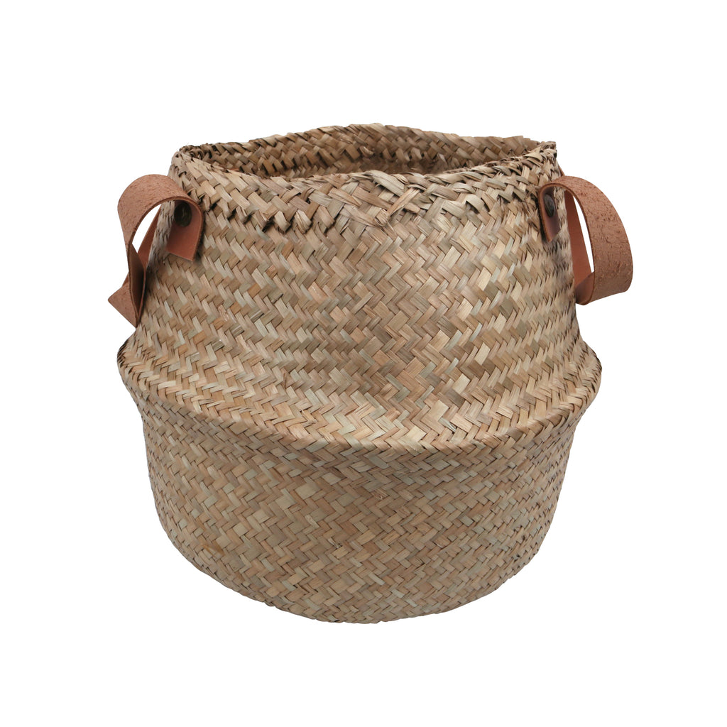 Storage Basket Belly Leather Handle