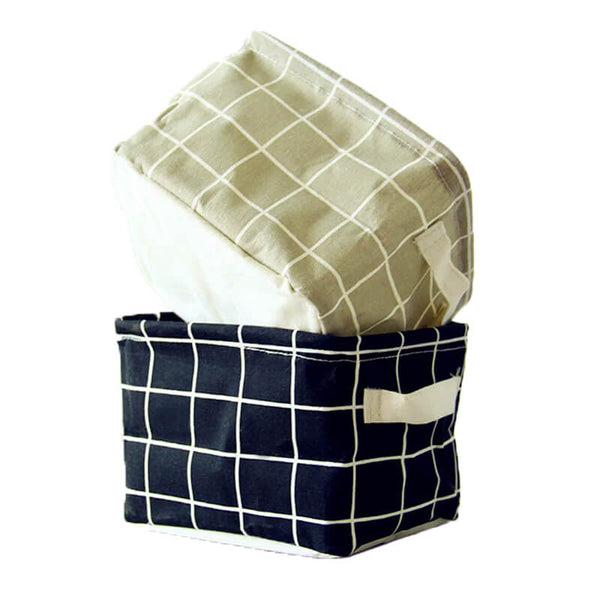 Black and White Grid Small Foldable Storage Basket