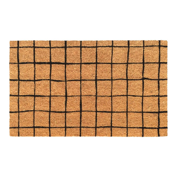 Black Grid Doormat