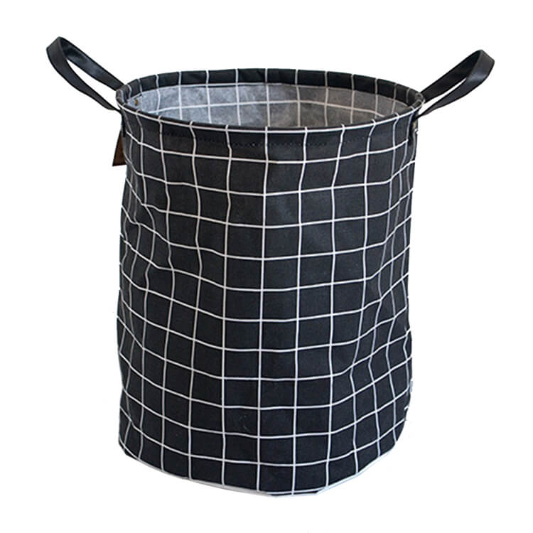 Storage Basket Black Grid Foldable Large