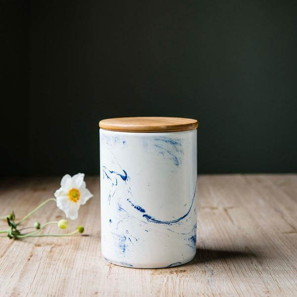 Canister Blue Vein Porcelain Medium