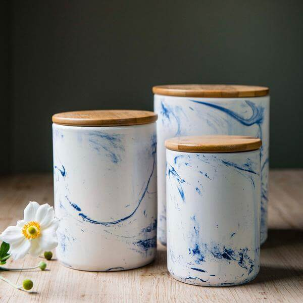 Canister Blue Vein Porcelain Small