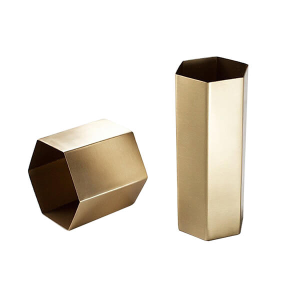 Brass Hexagonal Vases Set Of 2