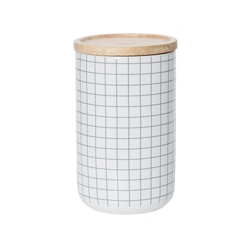 Canister Grey Grid Tall