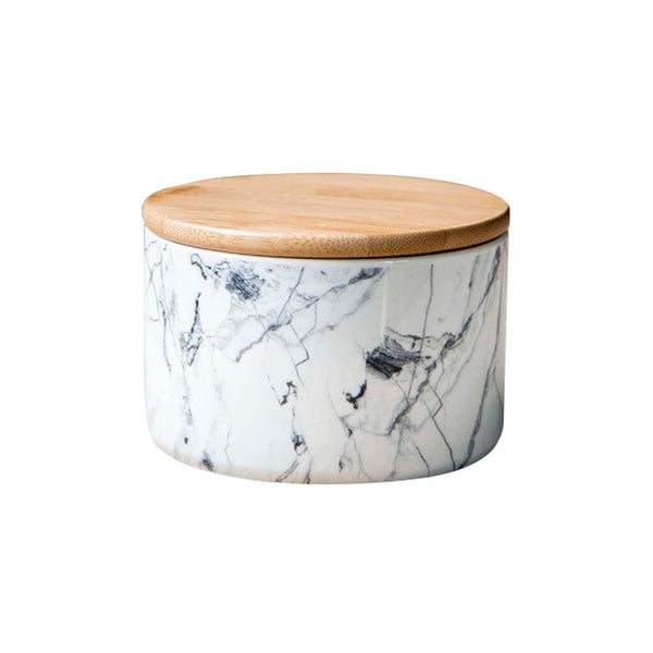Grey Vein Porcelain Wide Canister