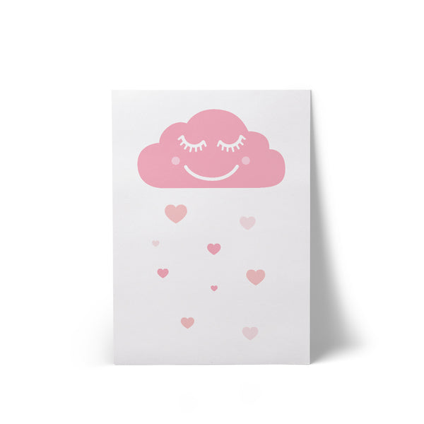 Happy Cloud White A4 Art Print
