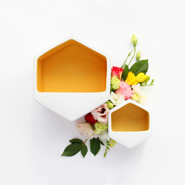 Planter Wall Hexagon Yellow Large
