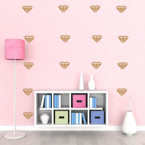 Metallic Gold Diamonds Wall Decals