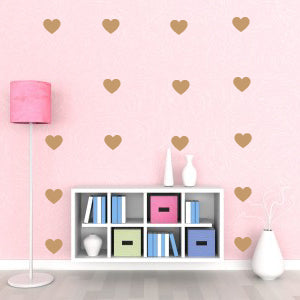 Metallic Gold Hearts Wall Decals