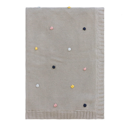Pom Pom Cotton Grey Marle Baby Blanket