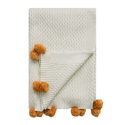 Seed Stitch White / Oak Pompom Throw