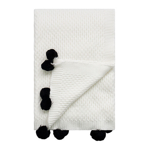 Seed White / Black Pompoms Throw