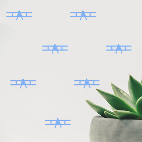 Sky Blue Planes Wall Decals
