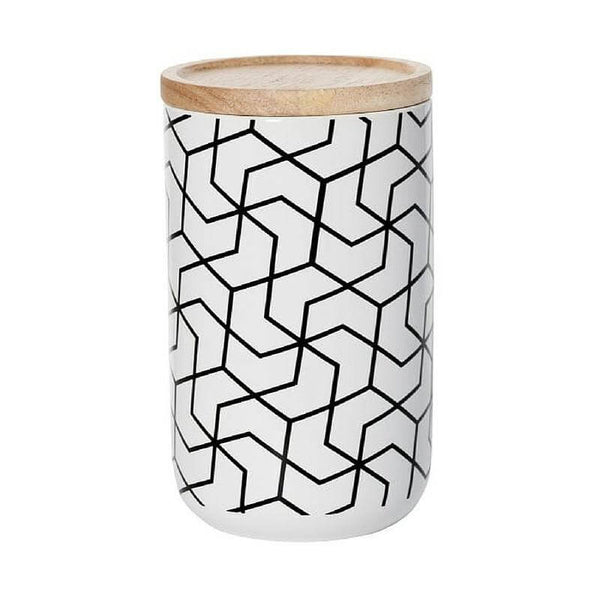 Spiral Hex White Tall Canister
