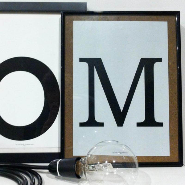 'M' Typography Art Print Grey