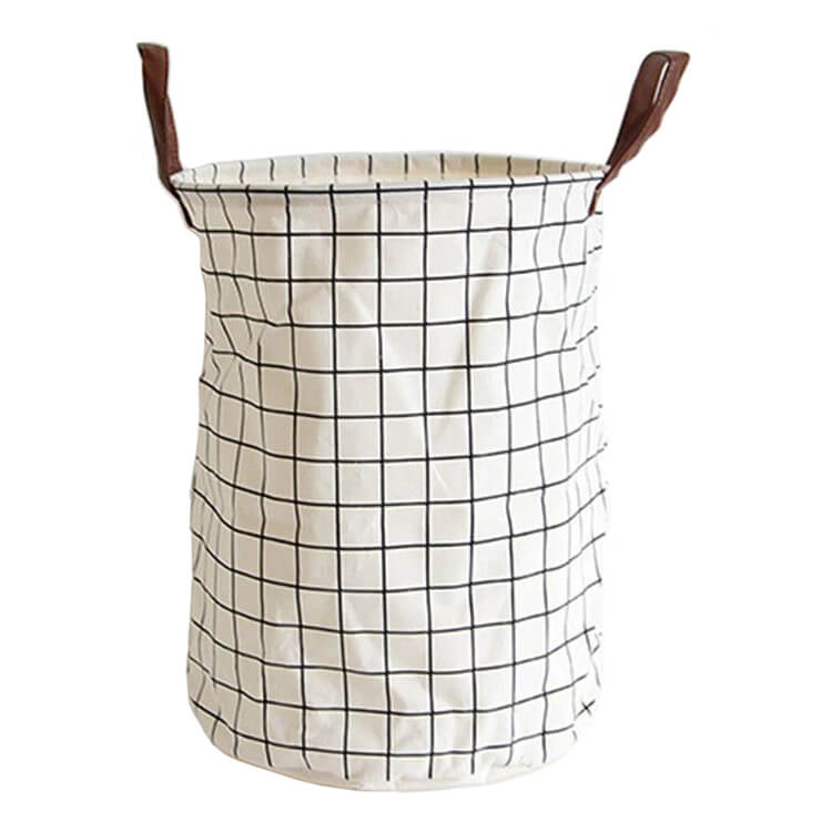 Storage Basket White Grid Foldable Large