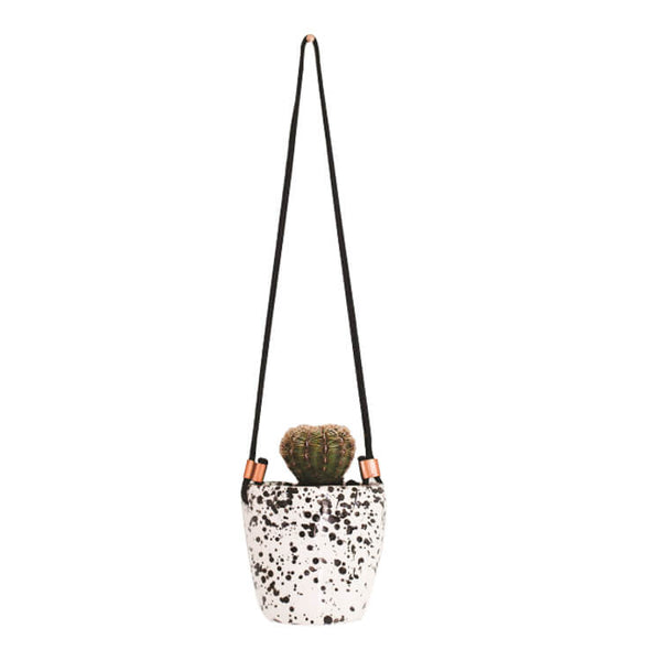 White with Black Splatter Planter