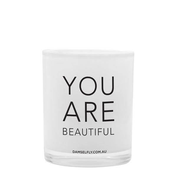 You Are Beautiful' Damselfly Candle