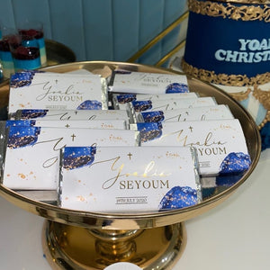 Personalised Chocolate Wrappers - Watercolour Blue & Foil