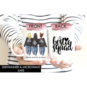 Personalised Bestie Squad Three Best Friends Soul Sisters Mug