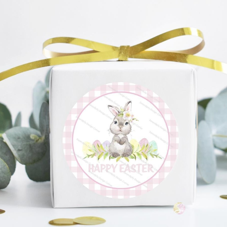 Personalised Easter Bunny Gingham Pastel Gloss Stickers