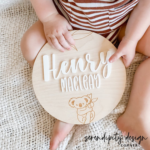 Wooden Name Sign Nursery Decor | Wood Name Plaque | Australian Animals Name Plaque | Koala Name Plaque