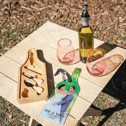 Personalised Glass Photograph Cheese Wine Set Chopping Board Set