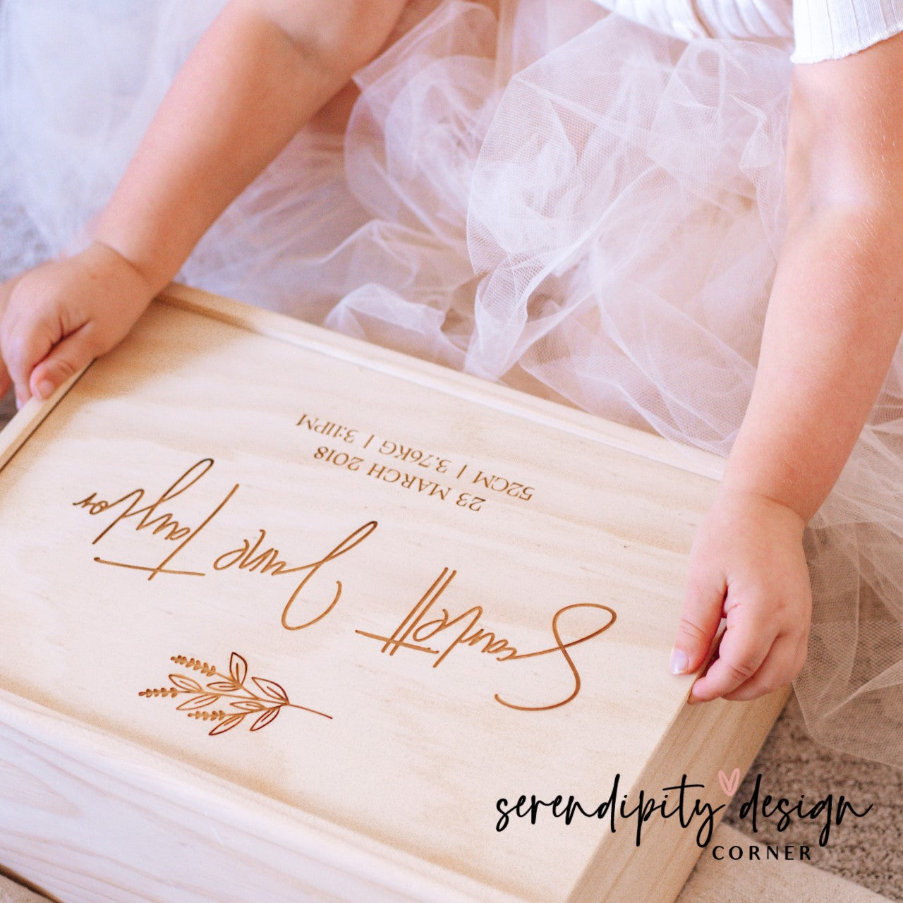 Personalised Wooden Keepsake Box - Newborn Baby - Fern