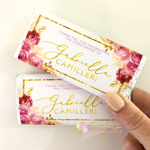 Personalised Floral Pink & Gold Christening Chocolate Wrapper
